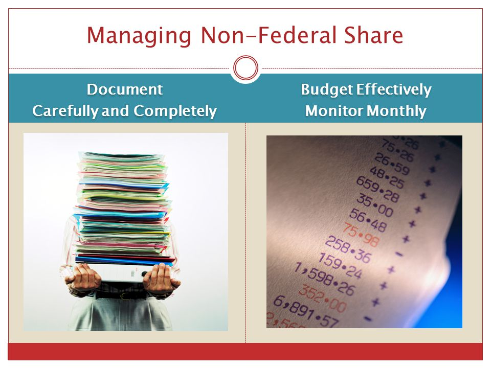 Managing Non-Federal Share