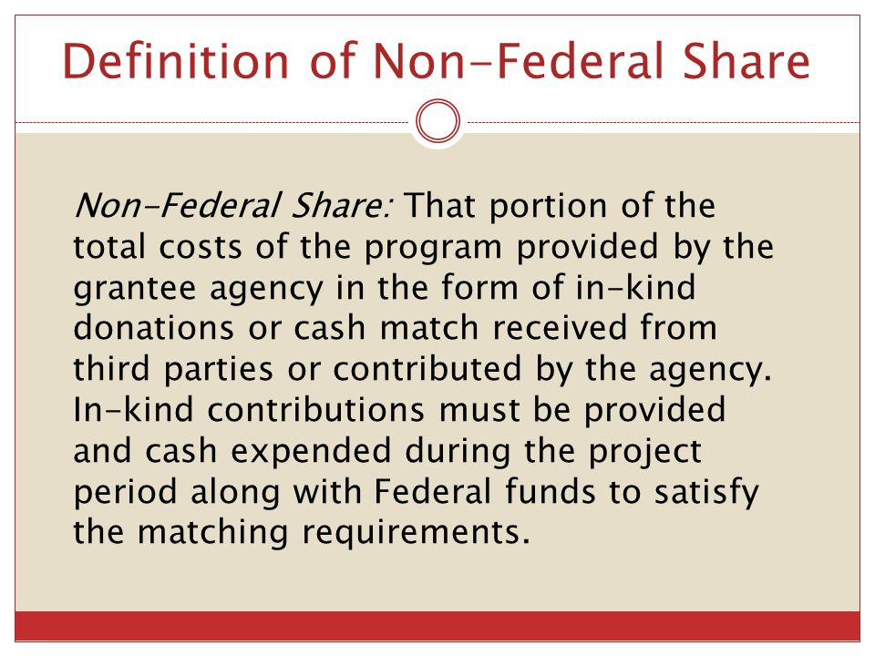 Definition of Non-Federal Share