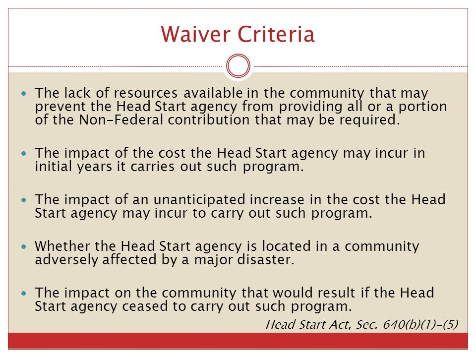 Waiver Criteria