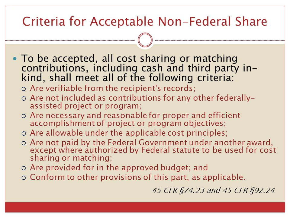 Criteria for Acceptable Non-Federal Share