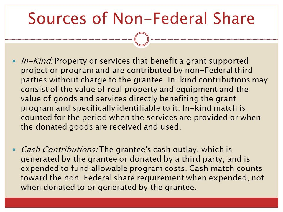 Sources of Non-Federal Share
