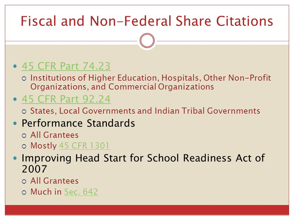 Fiscal and Non-Federal Share Citations