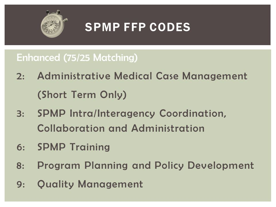 SPMP FFP Codes Enhanced (75/25 Matching)