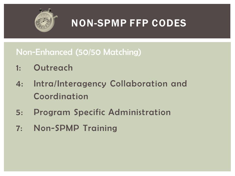 Non-SPMP FFP Codes Non-Enhanced (50/50 Matching) 1: Outreach