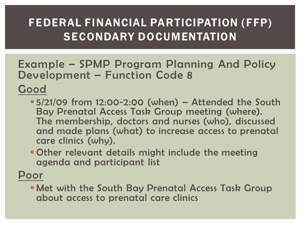 Federal Financial Participation (FFP) Secondary Documentation