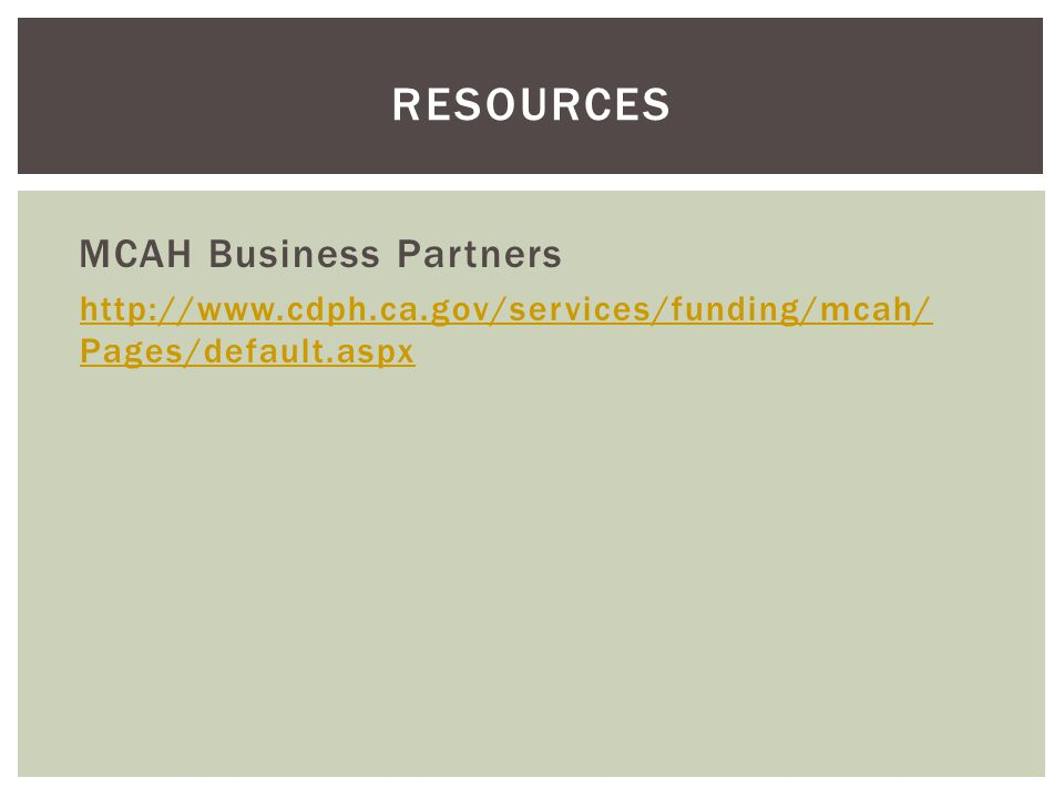 resources MCAH Business Partners