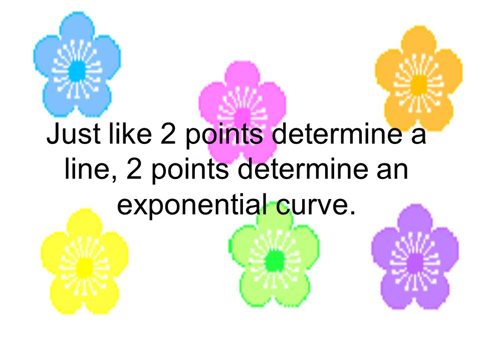 Just like 2 points determine a line, 2 points determine an exponential curve.