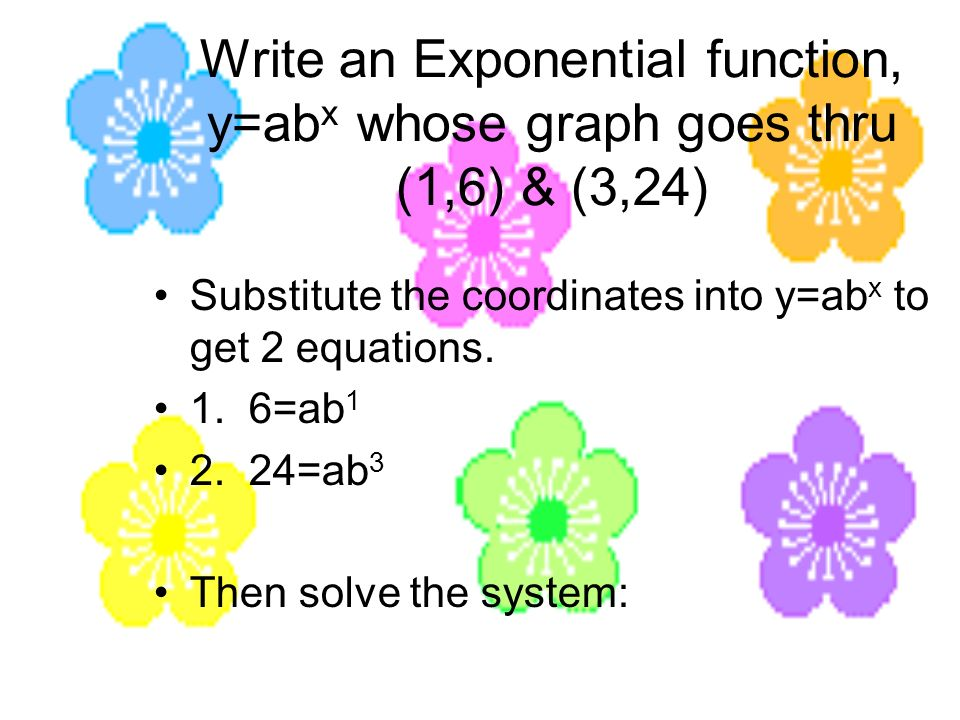 Write an Exponential function, y=abx whose graph goes thru (1,6) & (3,24)