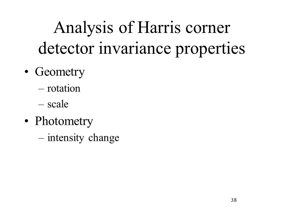 Analysis of Harris corner detector invariance properties