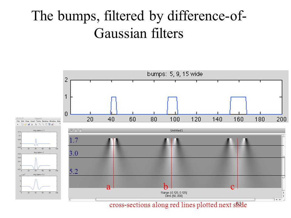The bumps, filtered by difference-of-Gaussian filters