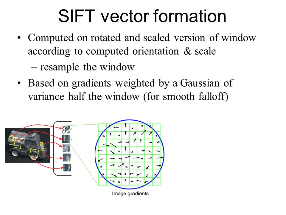 SIFT vector formation Computed on rotated and scaled version of window according to computed orientation & scale.