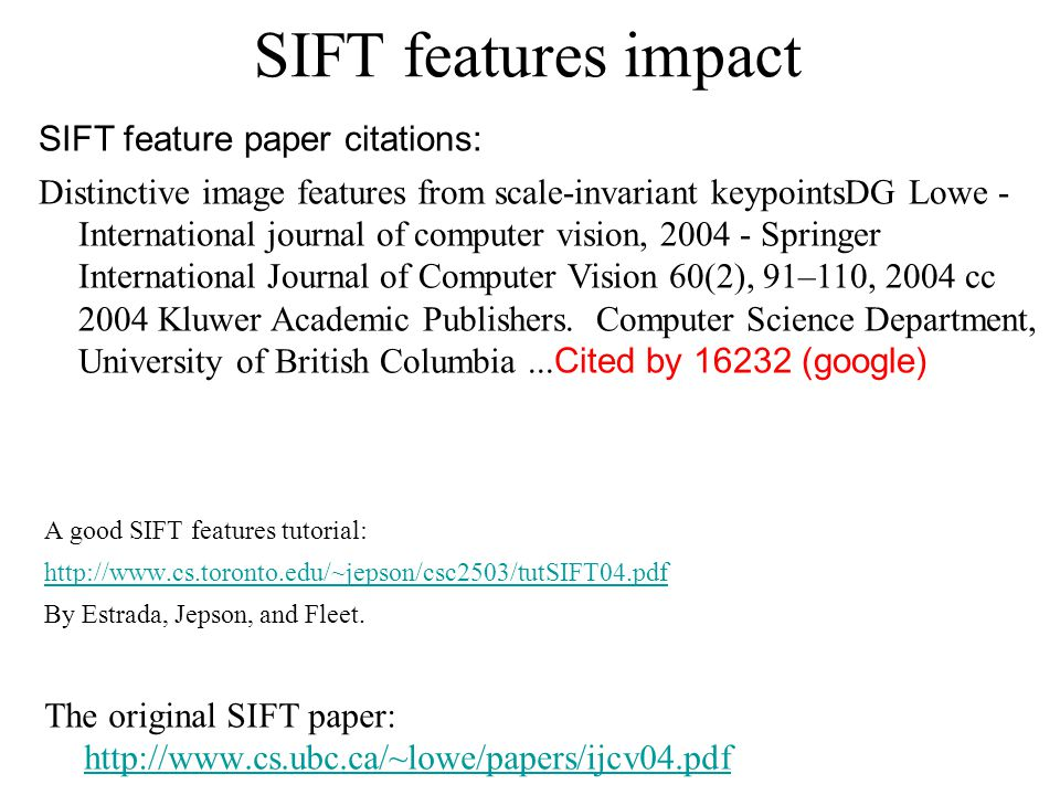SIFT features impact SIFT feature paper citations: