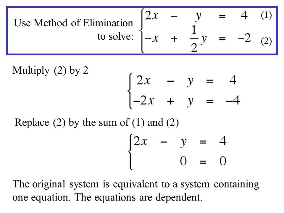 Use Method of Elimination to solve: