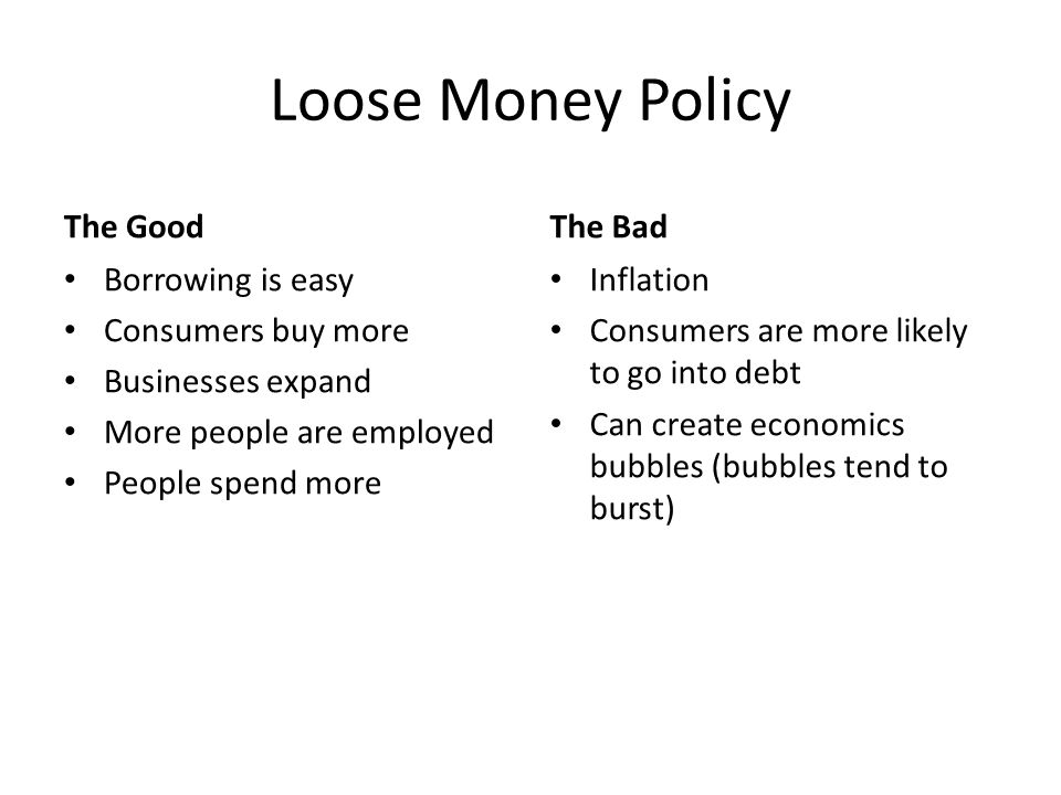 Loose Money Policy The Good The Bad Borrowing is easy