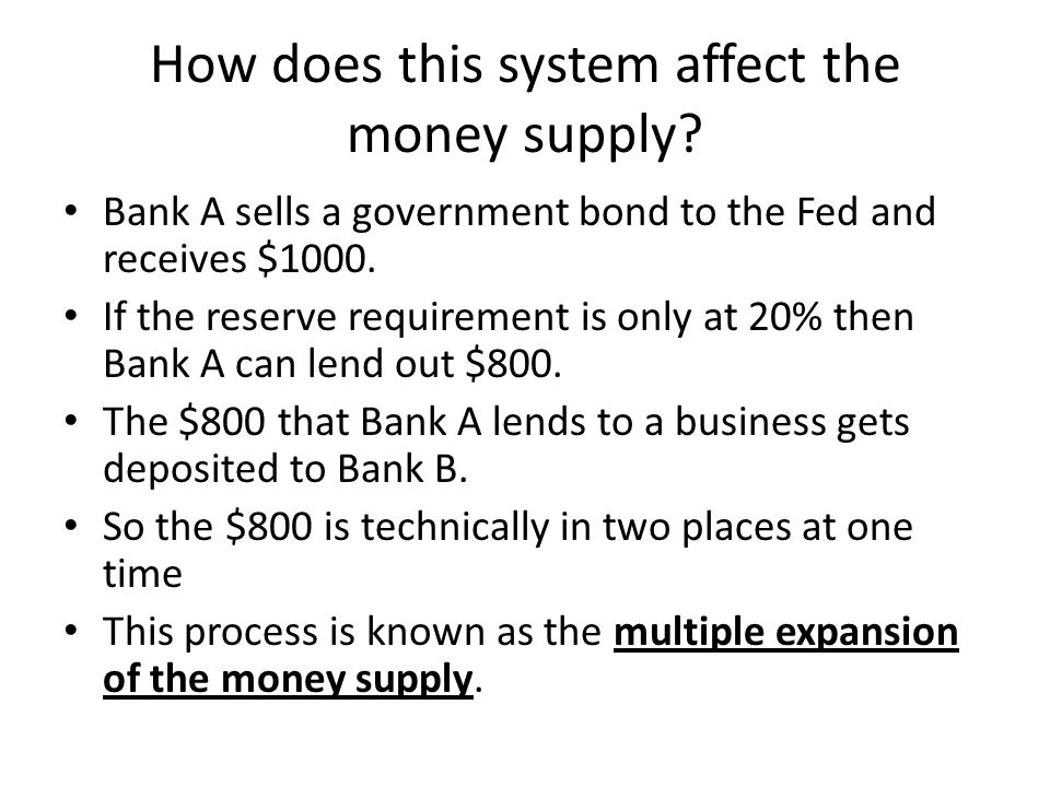 How does this system affect the money supply