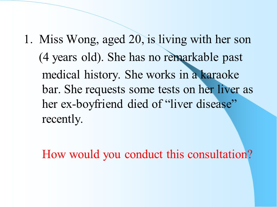 1. Miss Wong, aged 20, is living with her son
