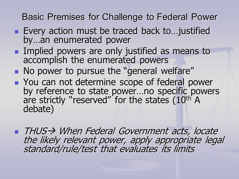 Basic Premises for Challenge to Federal Power