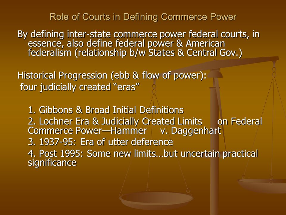 Role of Courts in Defining Commerce Power