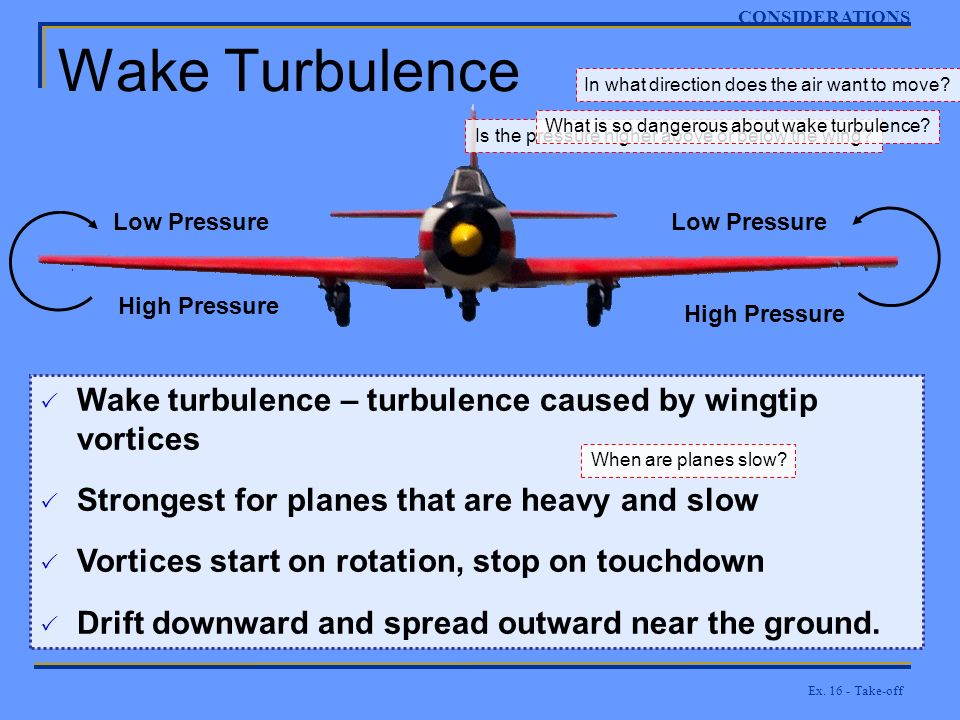 CONSIDERATIONS Wake Turbulence. In what direction does the air want to move What is so dangerous about wake turbulence
