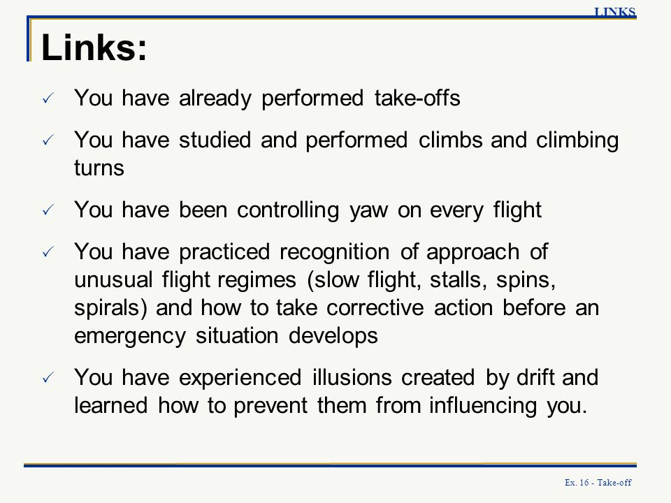 Links: You have already performed take-offs