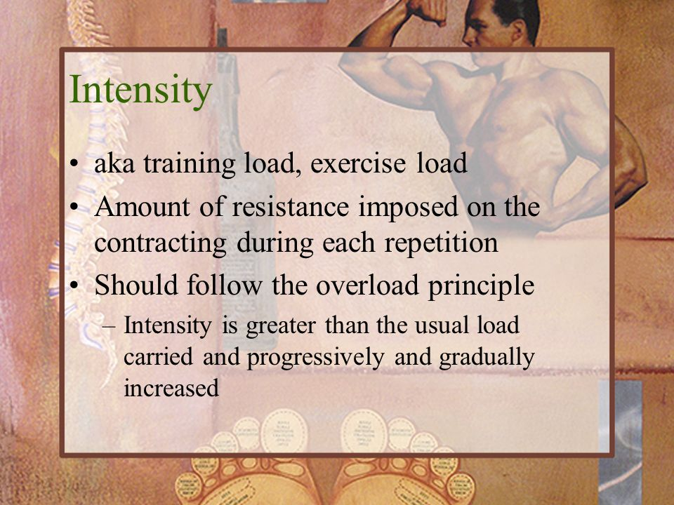 Intensity aka training load, exercise load