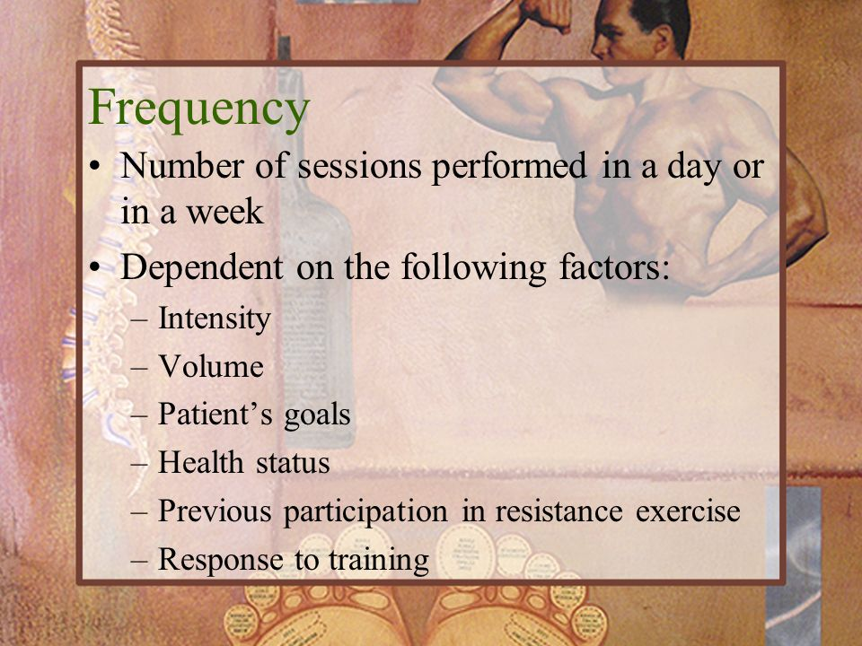 Frequency Number of sessions performed in a day or in a week