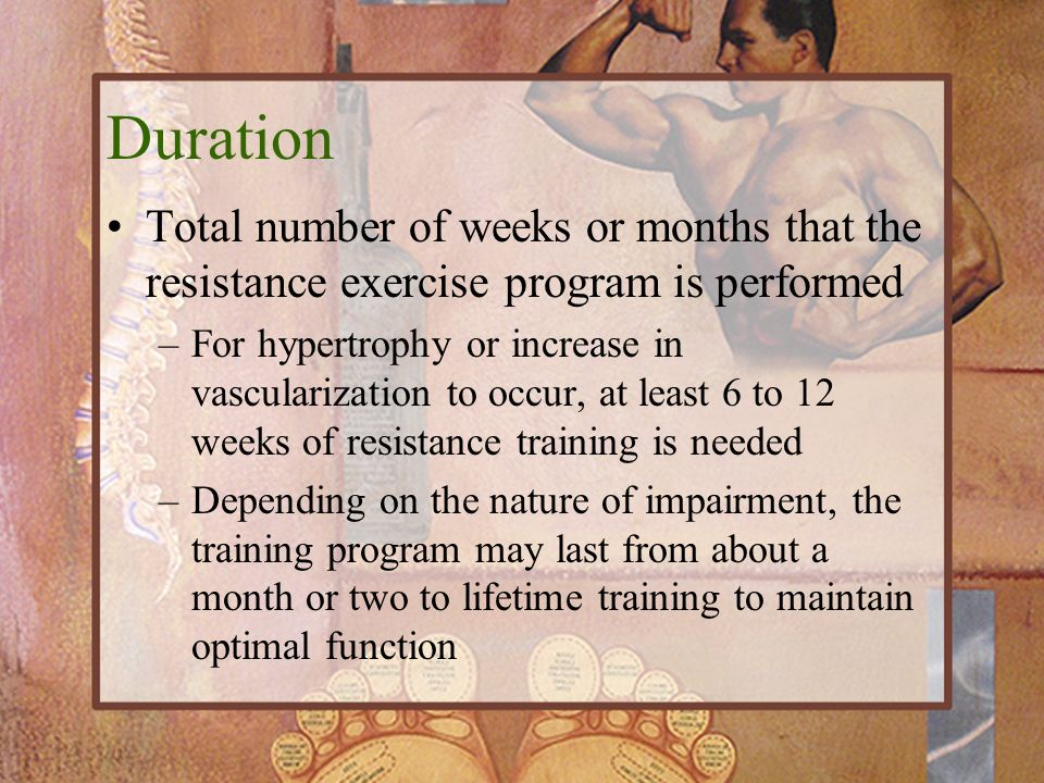 Duration Total number of weeks or months that the resistance exercise program is performed.