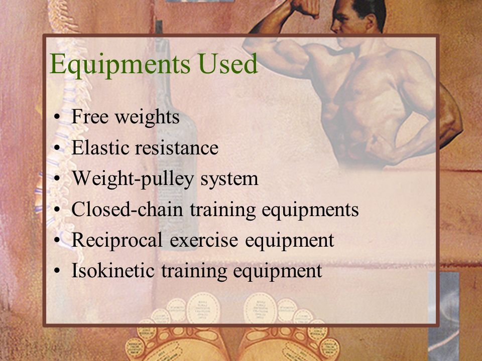 Equipments Used Free weights Elastic resistance Weight-pulley system