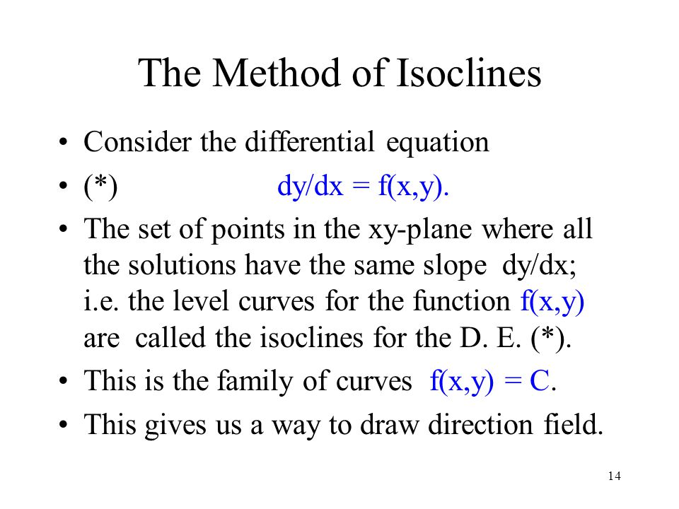 The Method of Isoclines