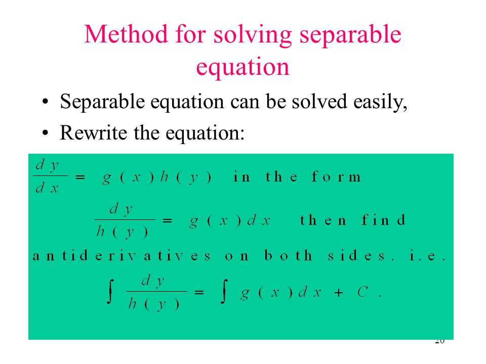 Method for solving separable equation