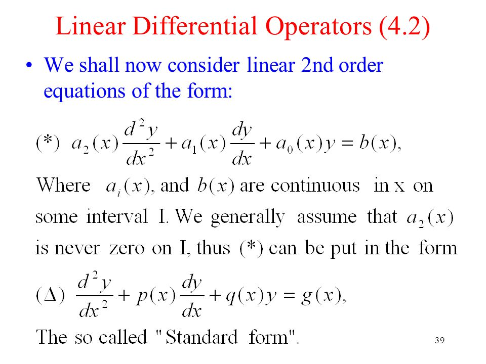 Linear Differential Operators (4.2)