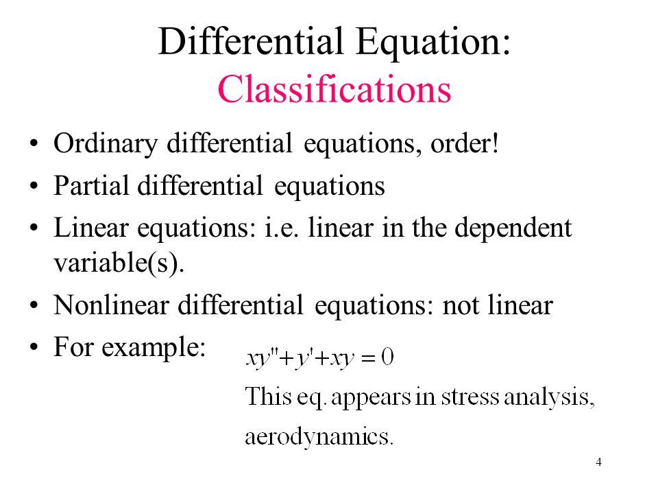 Differential Equation: Classifications