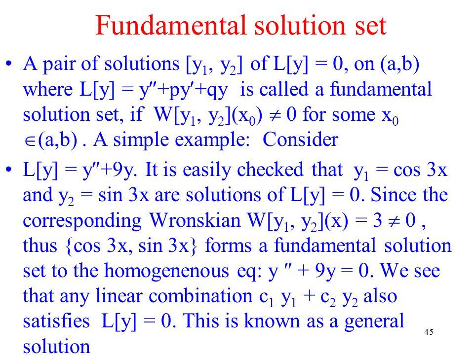Fundamental solution set