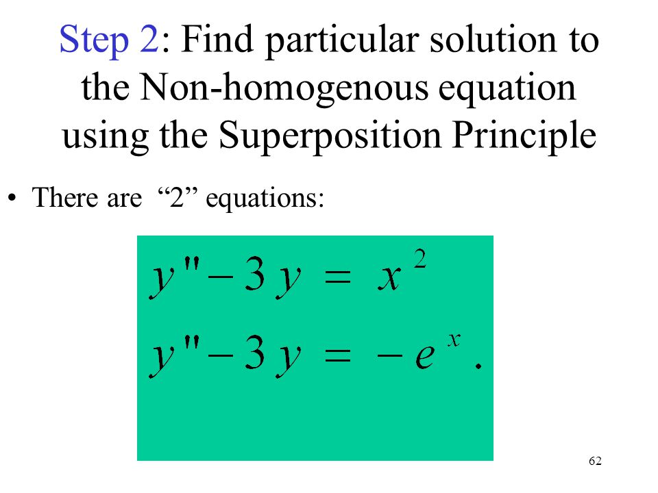 Step 2: Find particular solution to the Non-homogenous equation using the Superposition Principle