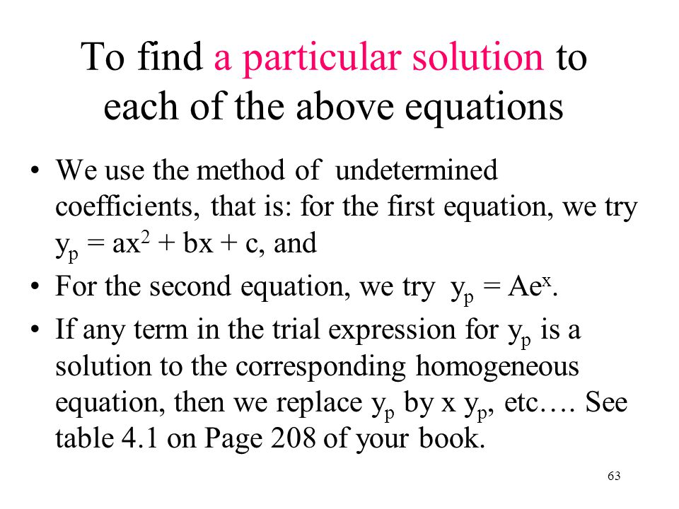 To find a particular solution to each of the above equations