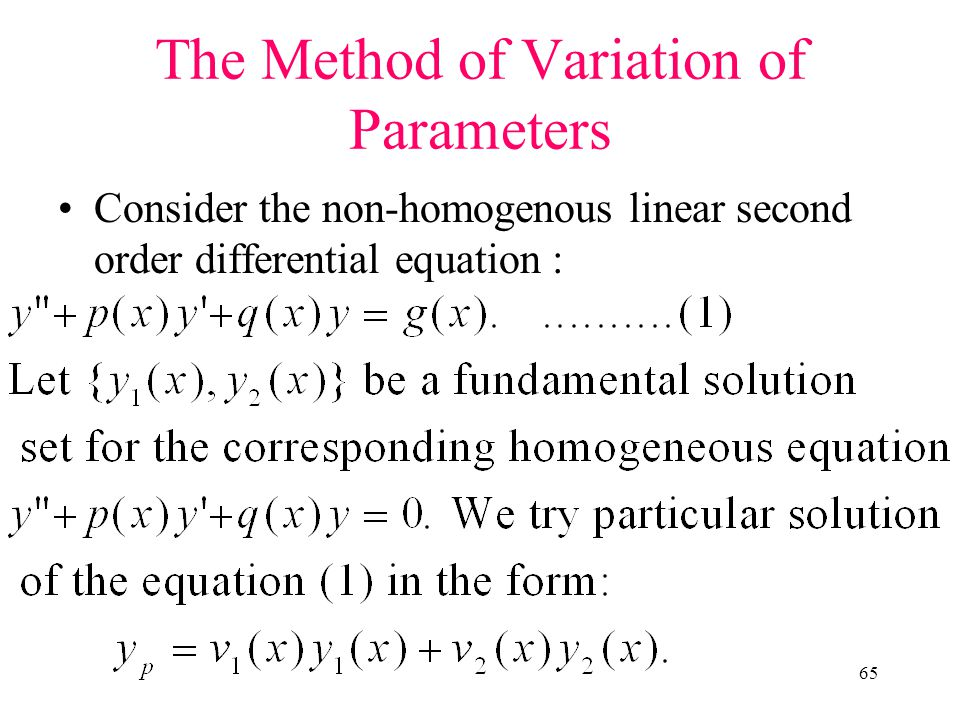 The Method of Variation of Parameters