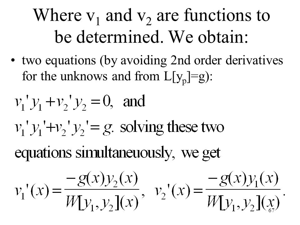 Where v1 and v2 are functions to be determined. We obtain: