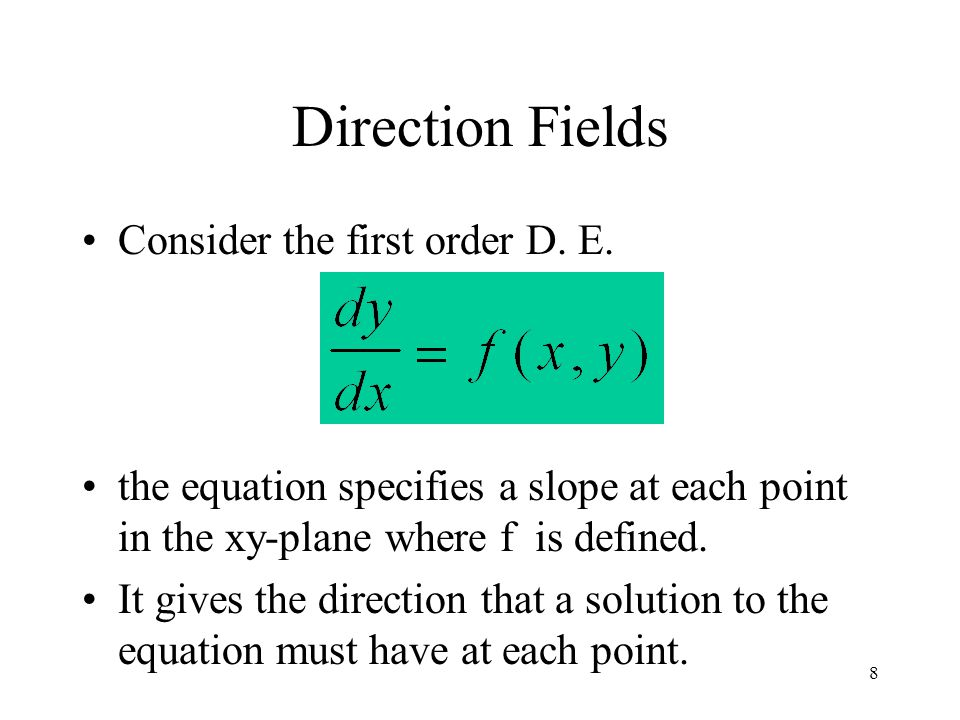 Direction Fields Consider the first order D. E.