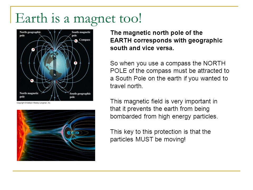 Earth is a magnet too! The magnetic north pole of the