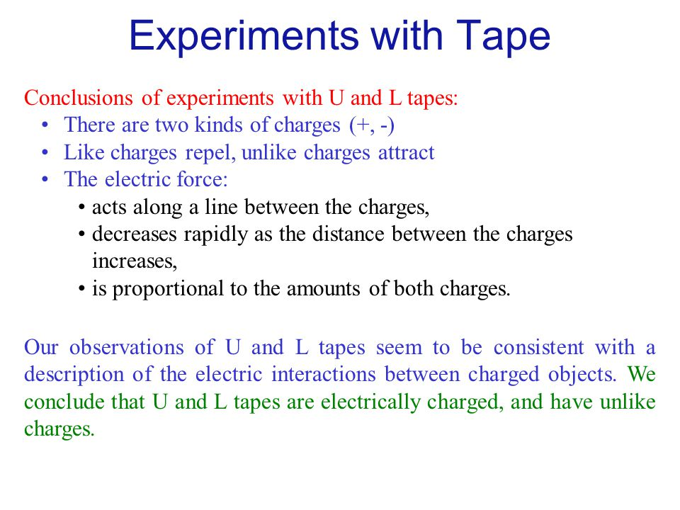Experiments with Tape Conclusions of experiments with U and L tapes: