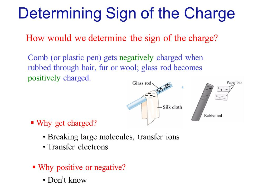 Determining Sign of the Charge