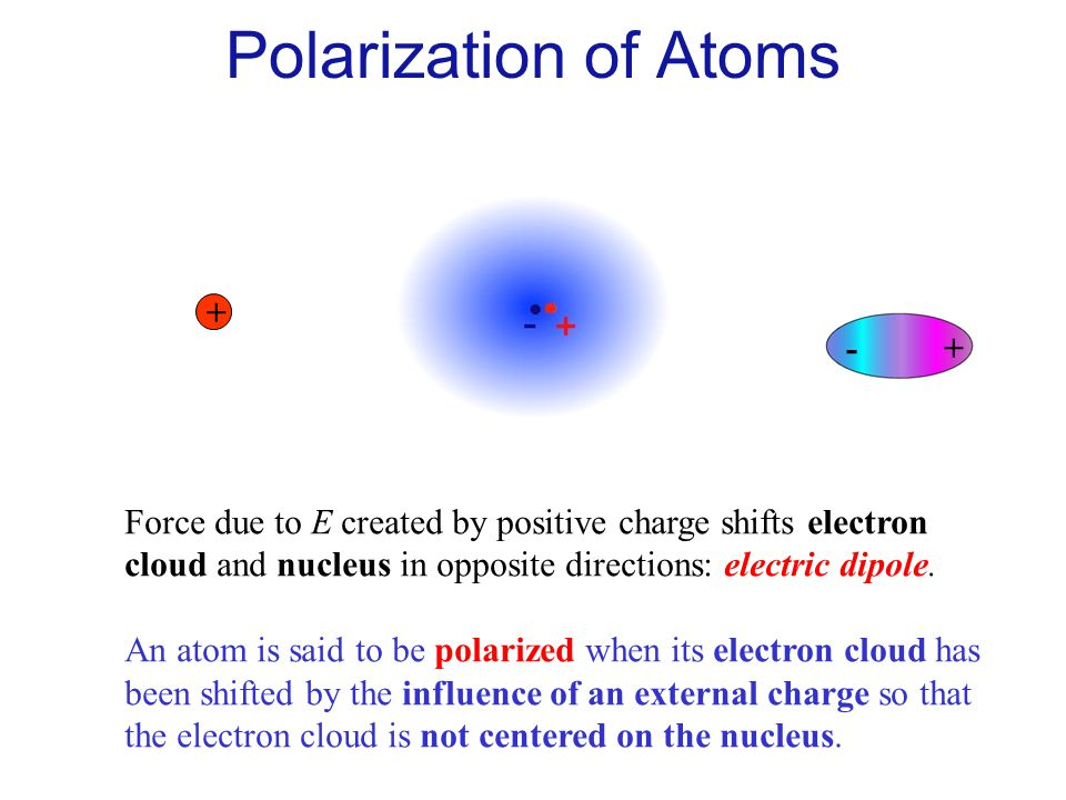 Polarization of Atoms E + - +