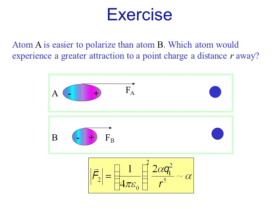 Exercise Atom A is easier to polarize than atom B. Which atom would experience a greater attraction to a point charge a distance r away