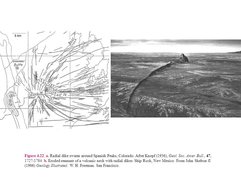 Figure 4. 22. a. Radial dike swarm around Spanish Peaks, Colorado