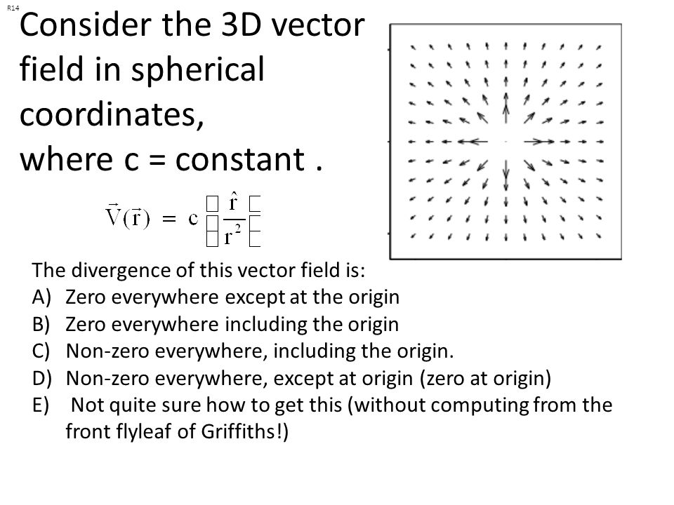 R14 Consider the 3D vector field in spherical coordinates, where c = constant . The divergence of this vector field is: