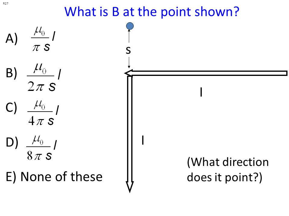 What is B at the point shown