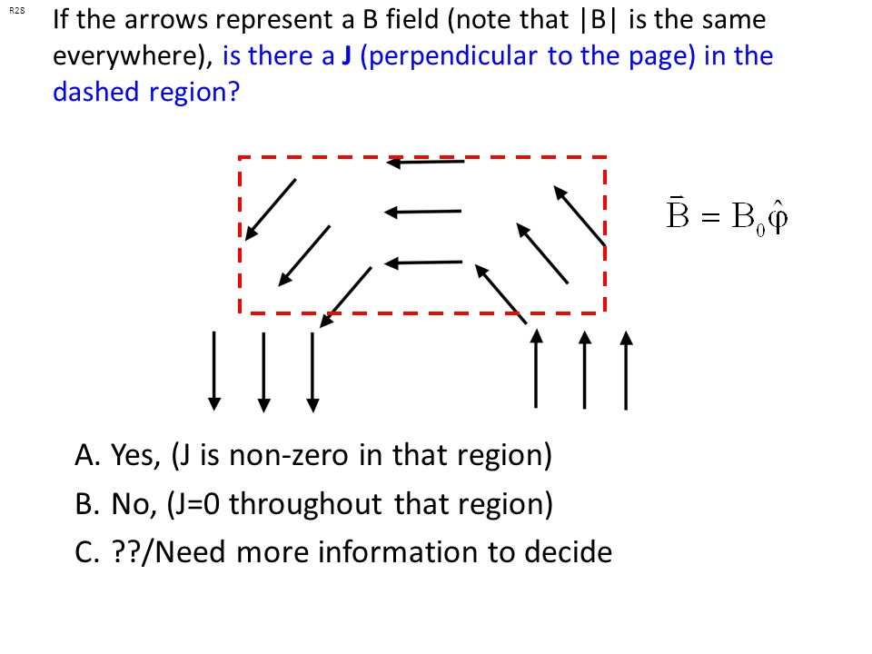 Yes, (J is non-zero in that region) No, (J=0 throughout that region)
