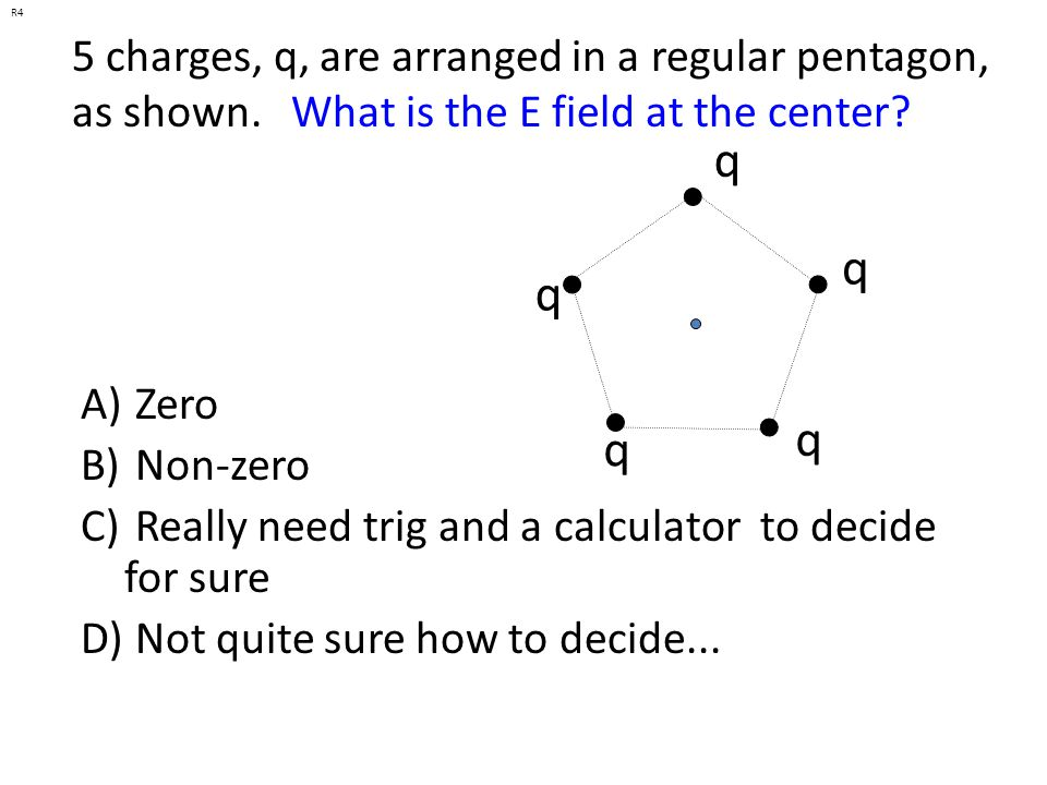 R4 5 charges, q, are arranged in a regular pentagon, as shown. What is the E field at the center