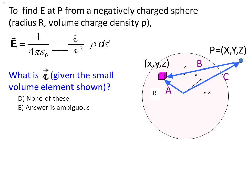 R9 To find E at P from a negatively charged sphere (radius R, volume charge density ρ), What is (given the small volume element shown)