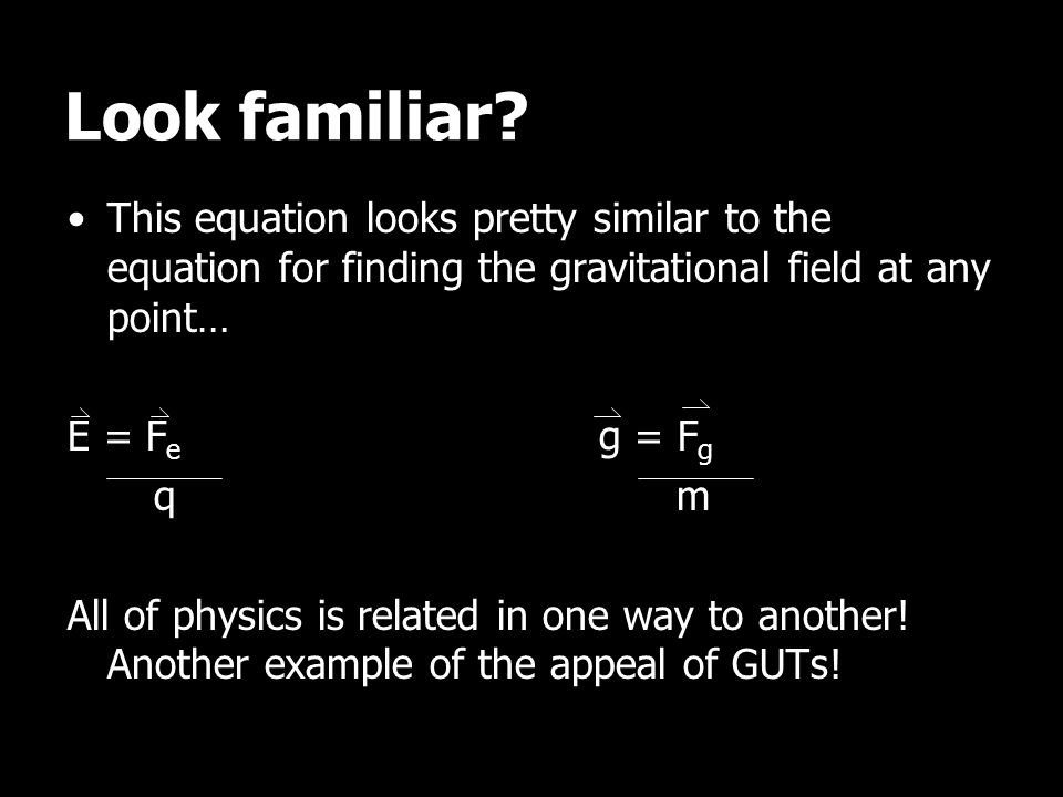 Look familiar This equation looks pretty similar to the equation for finding the gravitational field at any point…